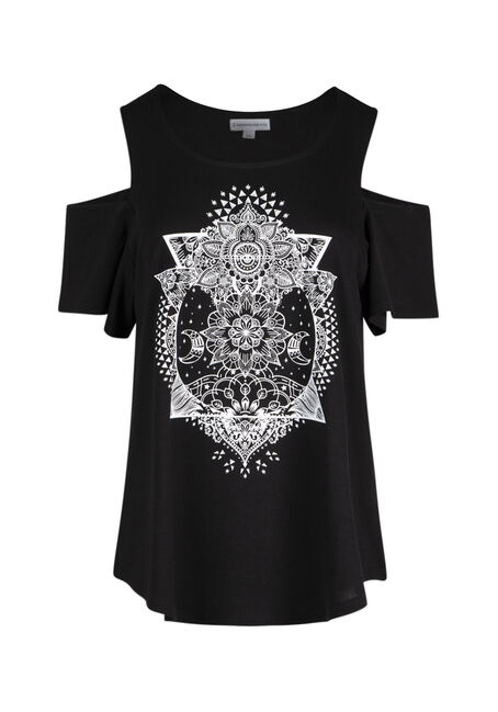 Ladies' Moon Mandala Cold Shoulder Tee