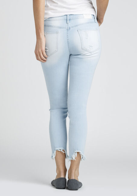 Ladies' Destructed Ankle Jean, LIGHT WASH, hi-res