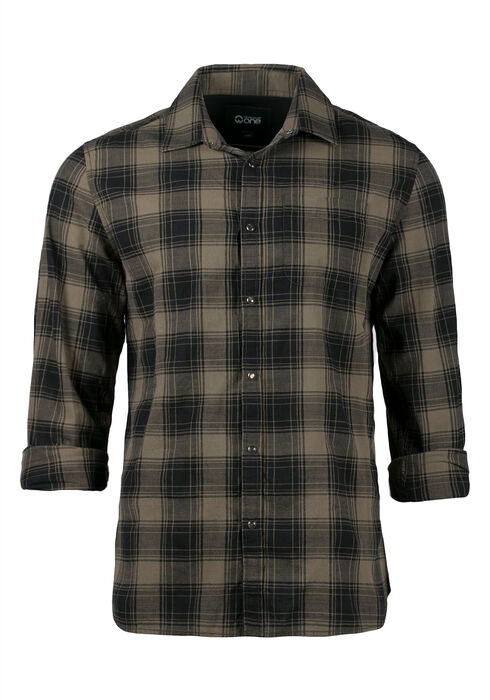 Men's Plaid Shirt, LIGHT OLIVE, hi-res