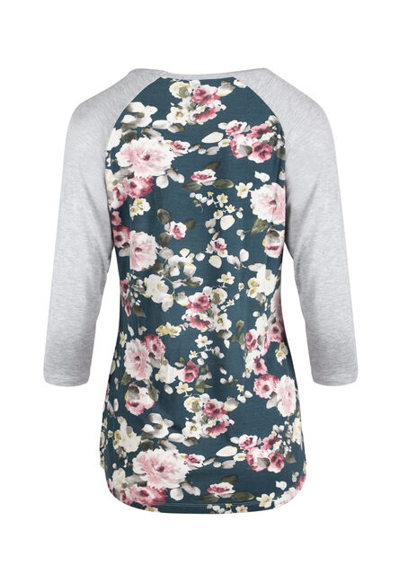 Ladies' Floral Baseball Tee, TEAL/HEATHER GREY, hi-res
