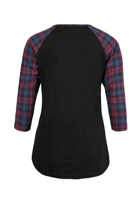 Ladies' Plaid Baseball Tee, BLACK, hi-res