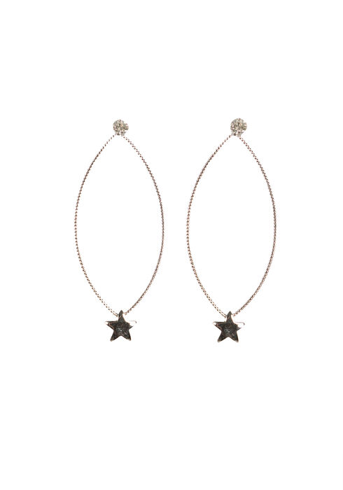 Ladies' Delicate Oval Earring, RHODIUM, hi-res