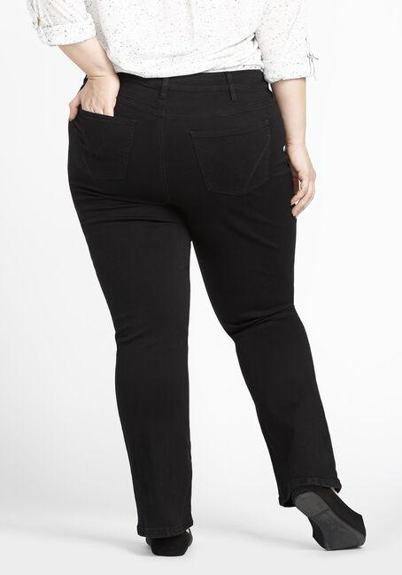 Ladies' Plus Size Baby Boot Jeans, BLACK, hi-res
