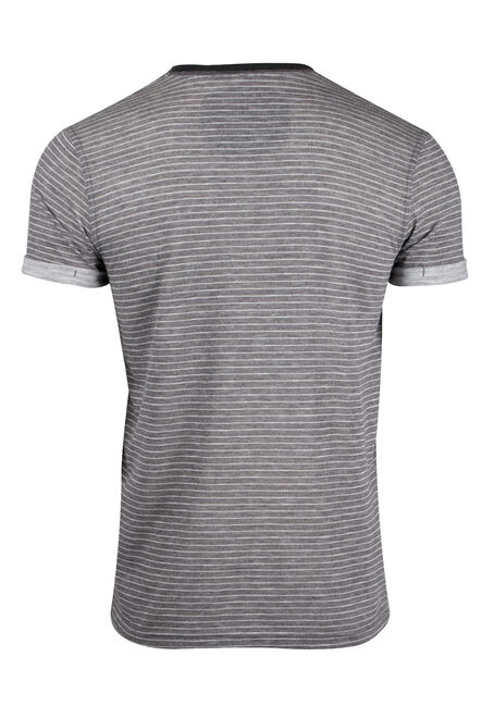 Men's Mini Stripe Henley Tee, CHARCOAL, hi-res