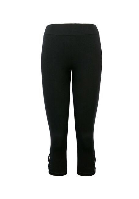 Ladies' Lattice Seamless Capri Legging, BLACK, hi-res