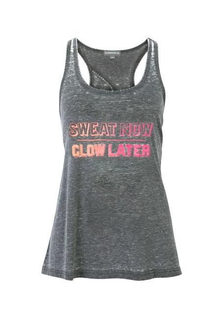 Ladies' Sweat Now Burnout Tank, BLACK, hi-res