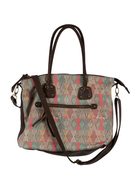 Ladies' Diamond Print Tote, MULTI, hi-res