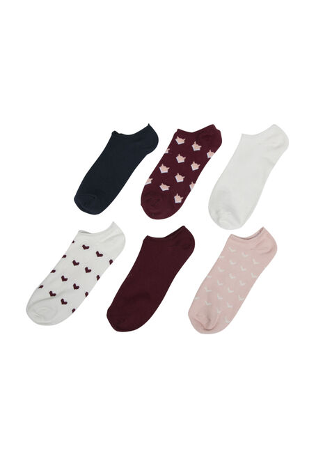 Ladies' 6 Pair Foxy Hearts Socks, BURGUNDY, hi-res