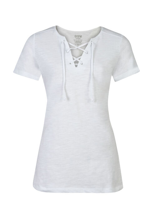 Ladies' Lace Up Tee, WHITE, hi-res