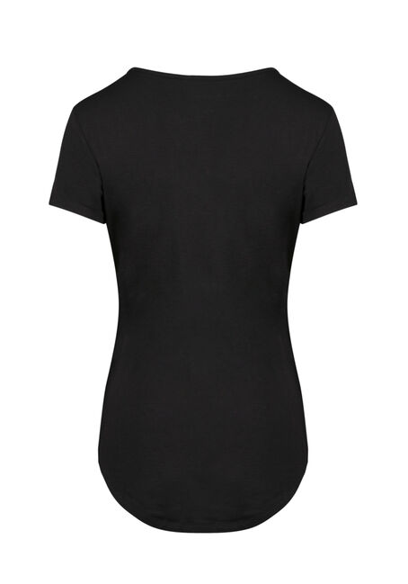 Ladies' Mesh Insert Tee, BLACK, hi-res