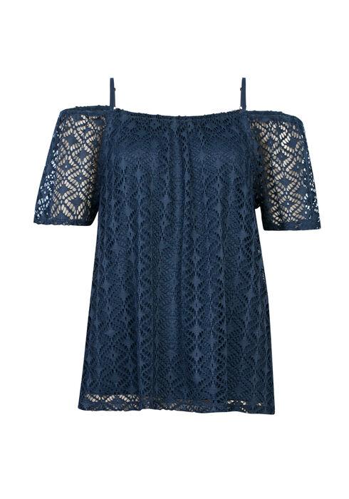 Ladies' Cut Out Cold Shoulder Top, COASTAL BLUE, hi-res