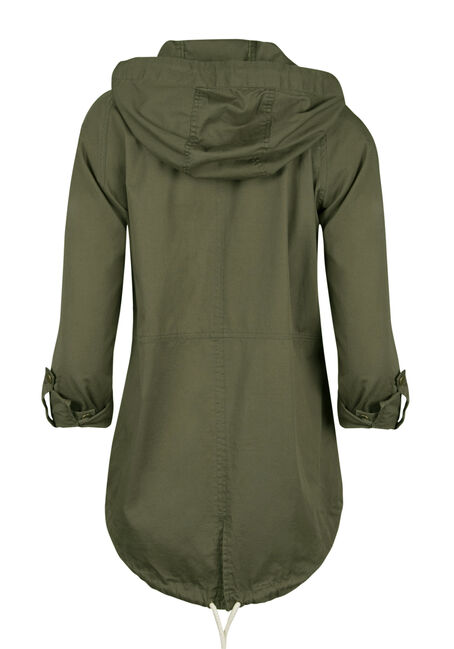 Ladies' Roll Sleeve Anorak Jacket, OLIVE, hi-res