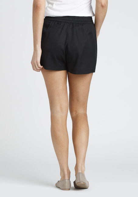 Ladies' tie Front Soft Short, BLACK, hi-res