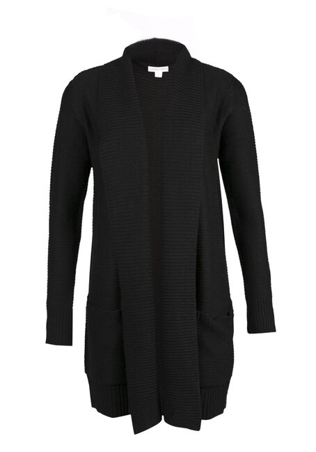 Ladies' Shawl Collar Open Cardigan, BLACK, hi-res