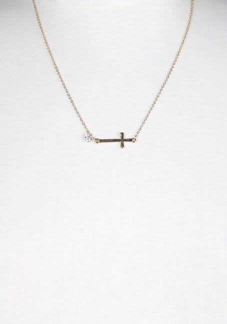 Ladies' Rhinestone Cross Necklace, GOLD, hi-res