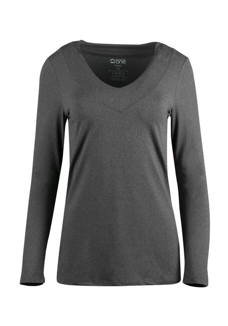 Ladies' V-Neck Tee, CHARCOAL, hi-res