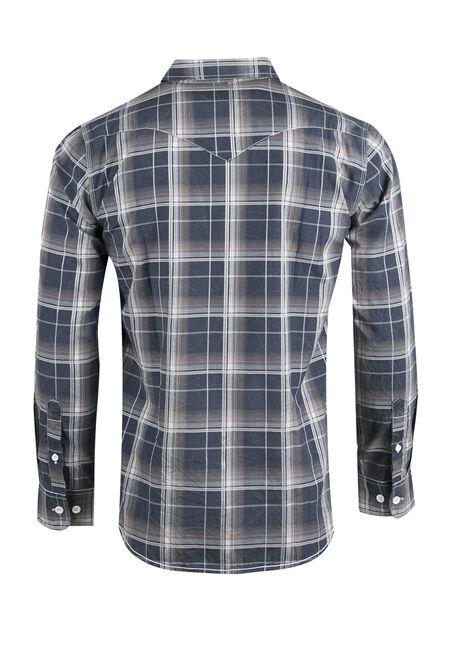 Men's Acid Wash Plaid Shirt, BLUE, hi-res