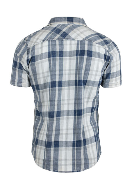 Men's Acid Wash Plaid Shirt, PALE BLUE, hi-res