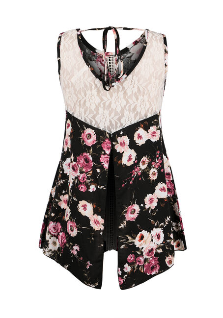 Ladies' Floral Print Tank, BLACK, hi-res