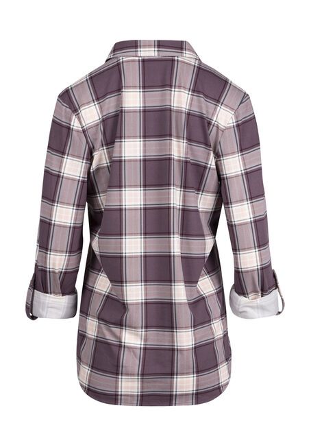 Ladies' Knit Plaid Shirt, LT PURPLE, hi-res