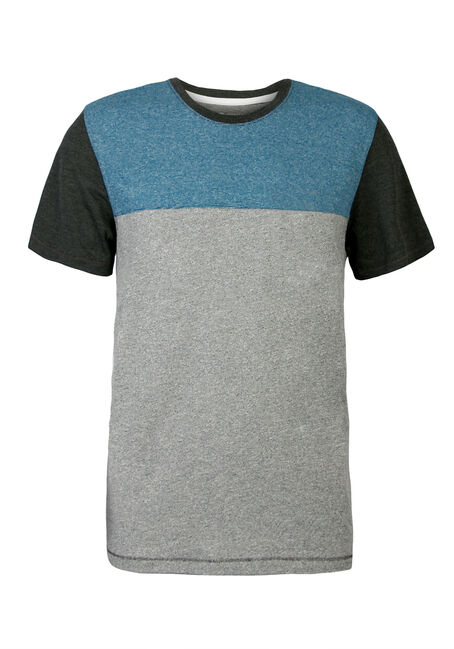 Men's Crew Neck Colour Block Tee, AQUA, hi-res