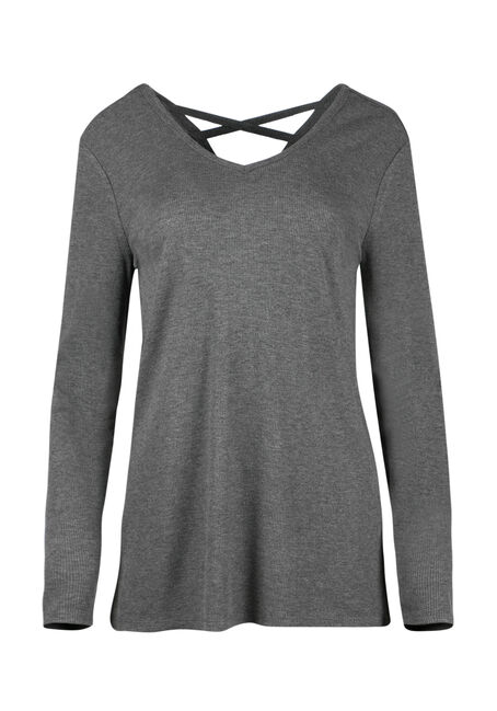 Ladies' Cross Back Tee, CHARCOAL, hi-res