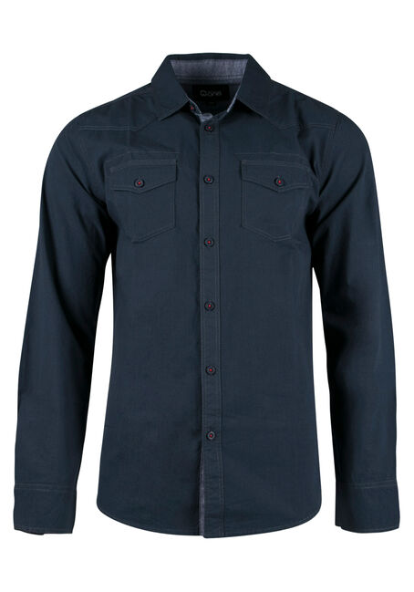 Men's Chambray Shirt, BLUE, hi-res