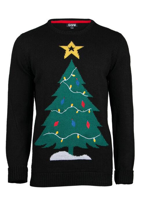 Men's Christmas Tree Light Up Sweater, BLACK, hi-res