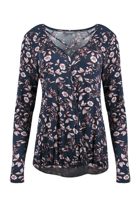 Ladies' Floral Wrap Front Bubble Top, MOONLIGHT BLUE, hi-res