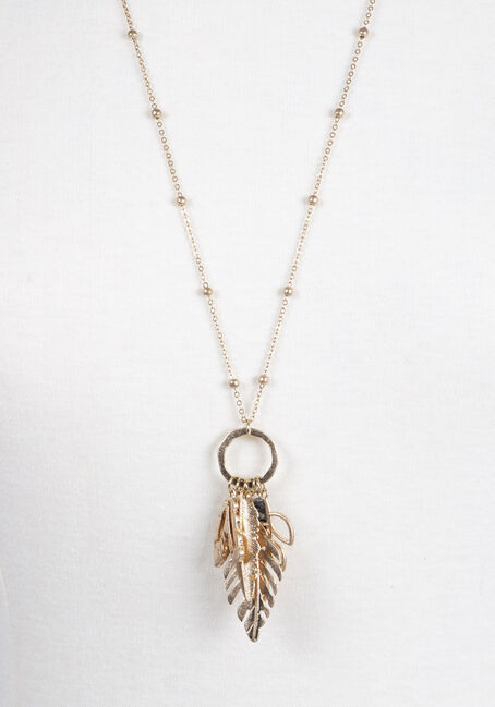 Ladies' Multi Leaf Charm Necklace, GOLD, hi-res