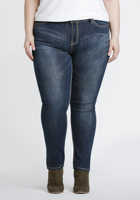 Ladies' Plus Size Skinny Jeans, DARK VINTAGE WASH, hi-res