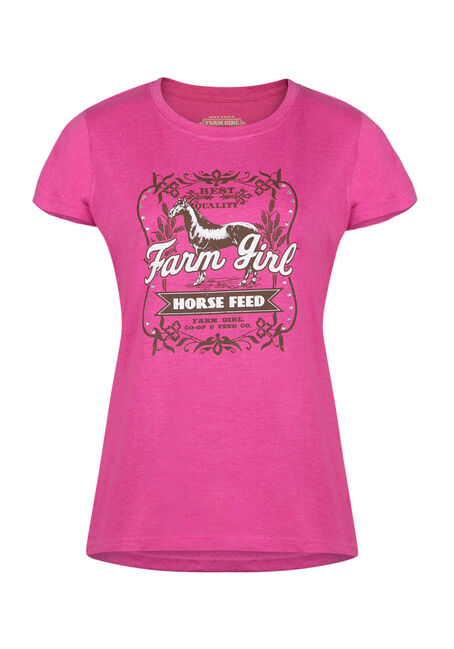 Ladies' Horse Feed Tee, PINK, hi-res