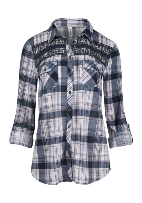 Ladies' Crochet Trim Plaid Shirt