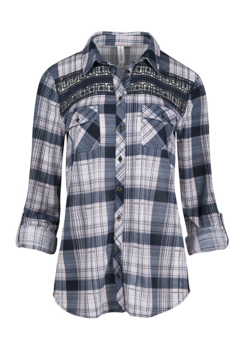 Ladies' Crochet Trim Plaid Shirt, ECLIPSE, hi-res