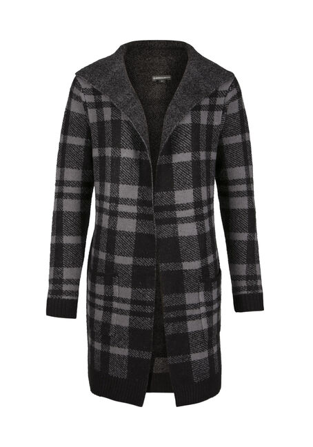 Ladies' Plaid Duster, BLK/GREY, hi-res
