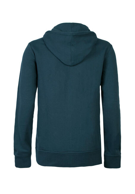 Men's Zip Front Fleece Hoodie, TEAL, hi-res