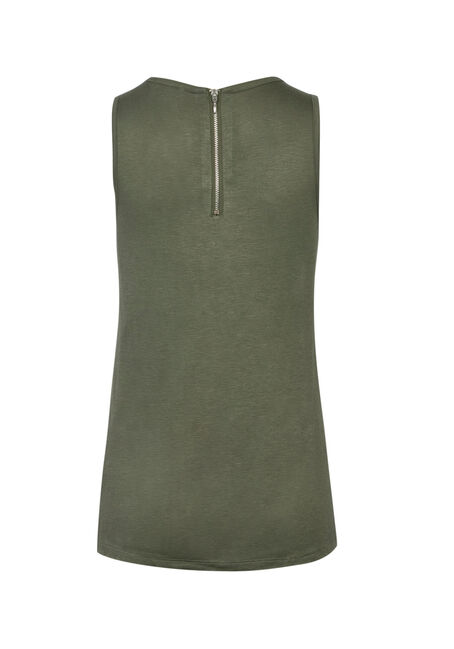 Ladies' Plus Size Lace Hem TanK, OLIVE GREEN, hi-res
