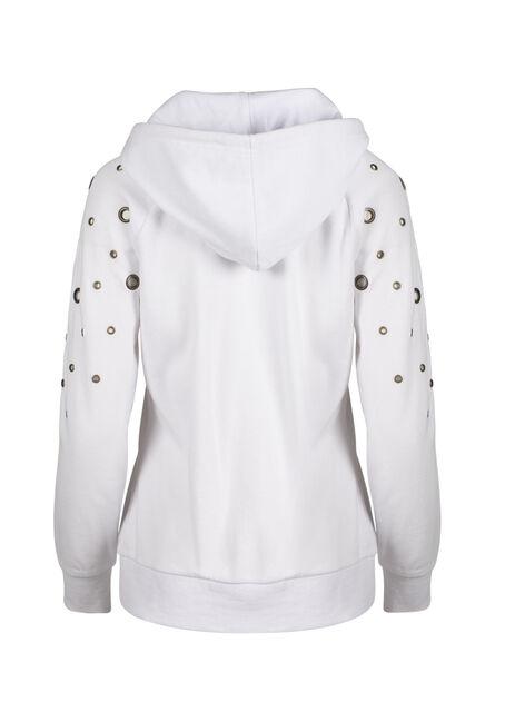 Ladies' Grommet Hoodie, WHITE, hi-res
