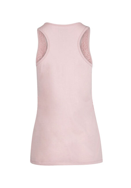 Ladies' Lace Front Tank, ROSEWATER, hi-res