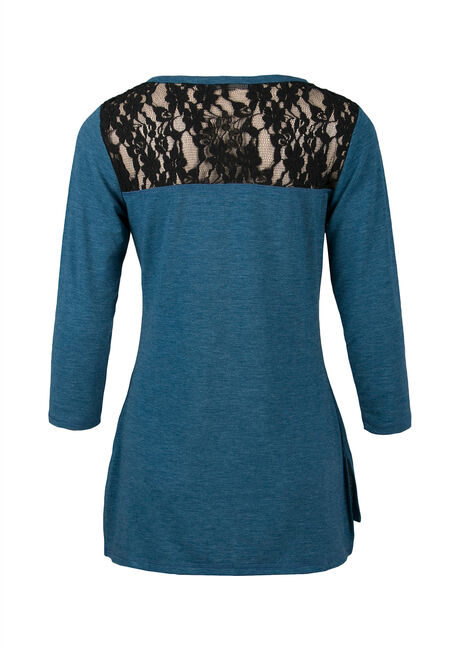 Ladies' Lace Insert Tee, MIRAGE BLUE/BLACK, hi-res