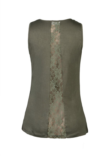 Ladies' Lace Insert Tank, OLIVE GREEN, hi-res