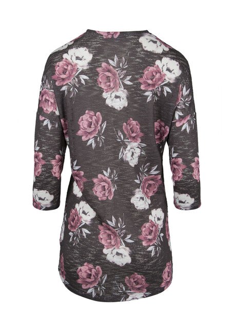 Ladies' Floral Cardigan, CHARCOAL/ PINK, hi-res