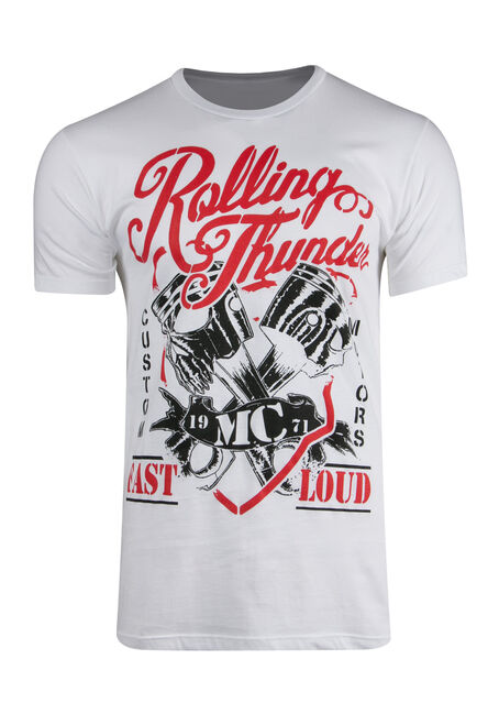 Men's Rolling Thunder Tee, WHITE, hi-res