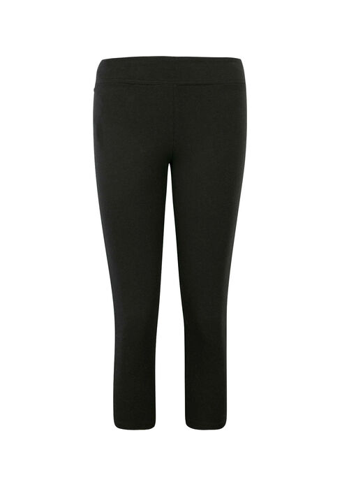Ladies' Wide Waistband Capri Legging, BLACK, hi-res