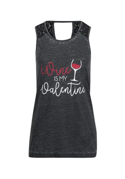 Ladies' Wine Is My Valentine Tank, BLACK, hi-res