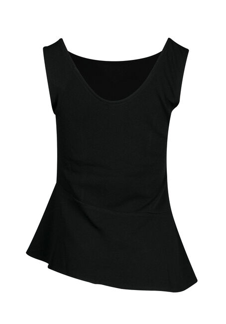 Ladies' Asymmetrical Peplum Tank, BLACK, hi-res