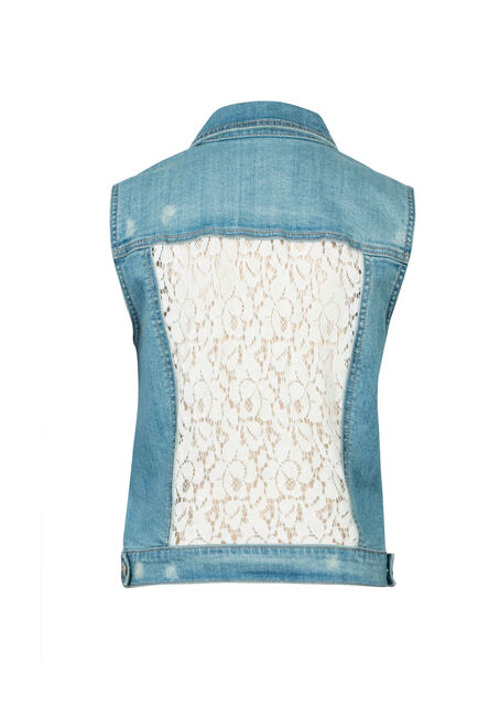 Ladies' Bleach Wash Lace Back Jean Vest, BLEACH WASH, hi-res