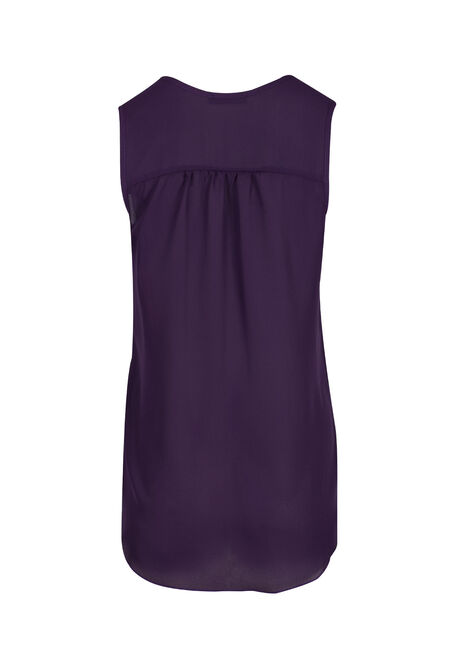 Ladies' Pleat Front Tank, PURPLE, hi-res