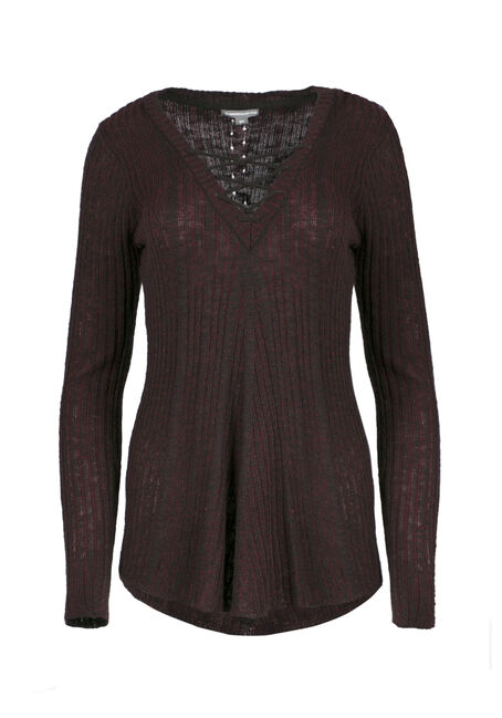 Ladies' Lace Up Sweater, WINE/BLACK, hi-res