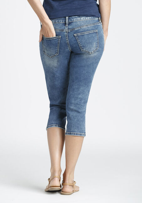 Ladies' Slim Capri, MEDIUM VINTAGE WASH, hi-res